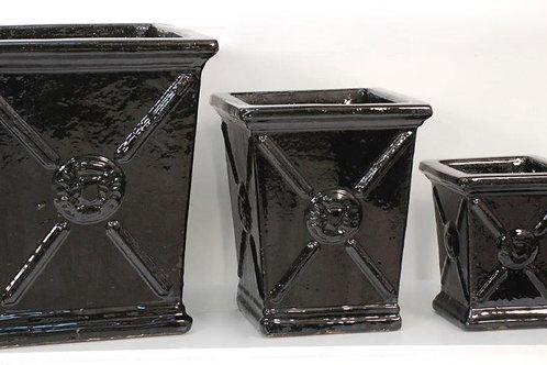 Square Crested Planter Black Glazed Ceramic