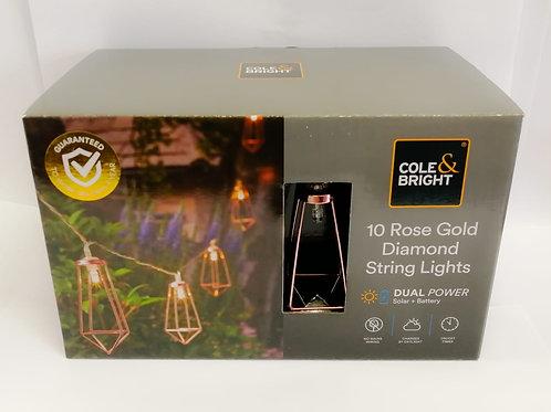 Cole & Bright Dual Power 10 Rose Gold Diamond String Lights