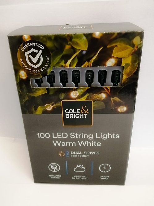 Cole & Bright 100 LED Dual Power String Lights Warm White