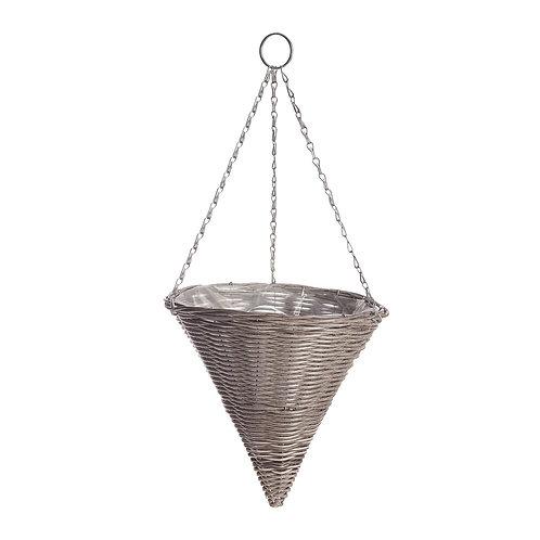 Rattan Effect Light Grey Hanging  Cone