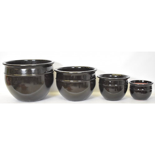 Sasha Glazed Ceramic Planter Fr. Blue