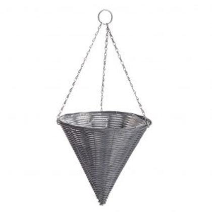 Rattan Effect Dark Grey Hanging Cone
