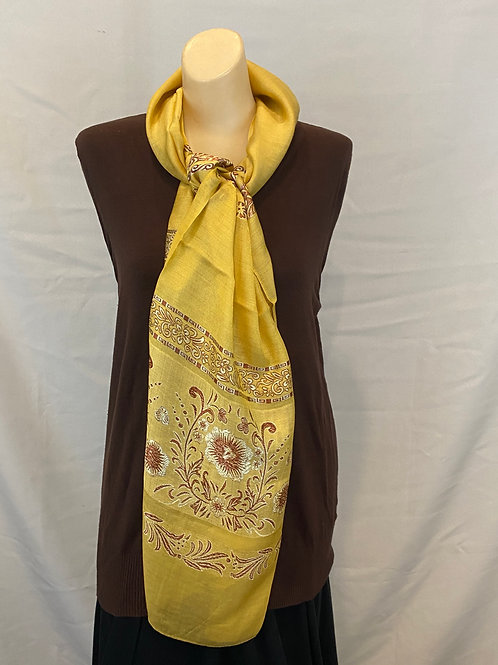 Gold and Brown Floral Silk Scarf