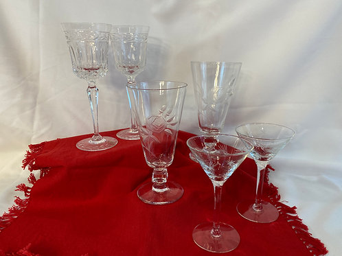 3 Sets of 2 Crystal Glasses
