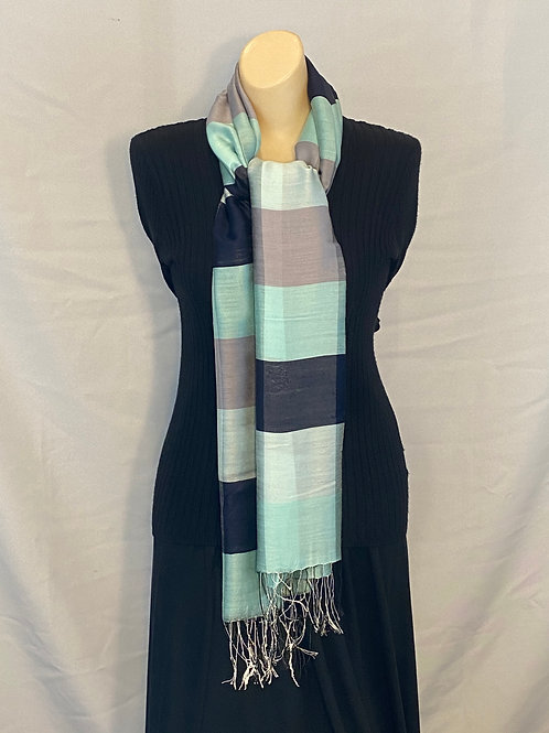Blue and Gray Striped Silk Scarf