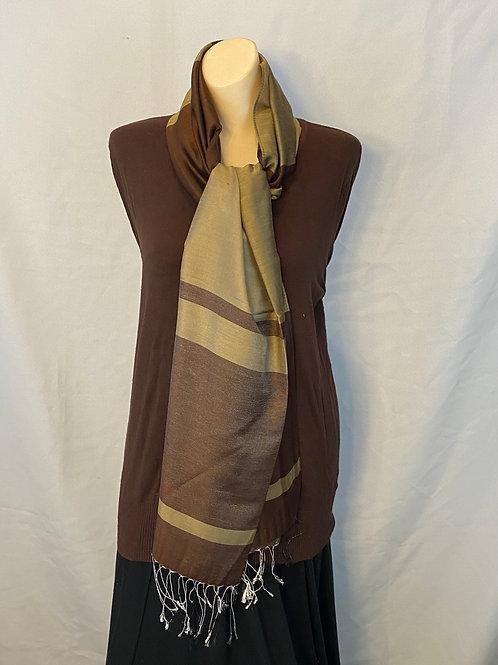 Dark Brown and Camel Striped Silk Scarf