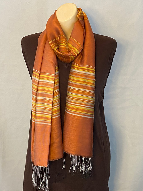 Burnt Orange Silk Scarf With Gold and Gray Stripes