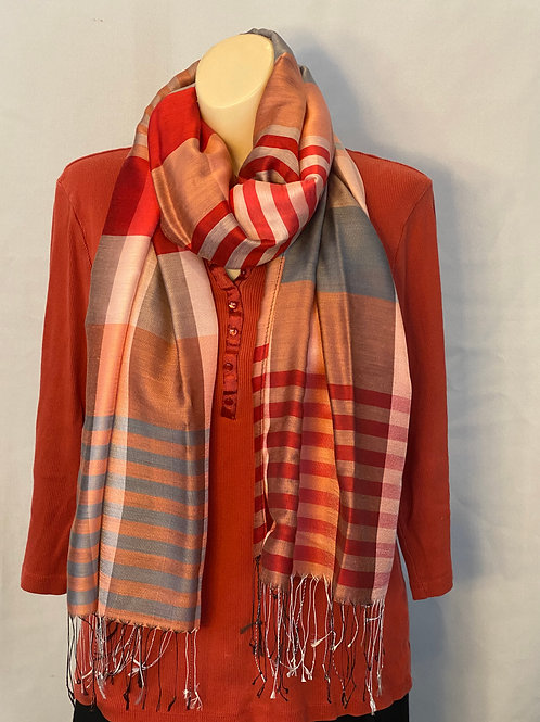 Multicolor Striped Silk Scarf