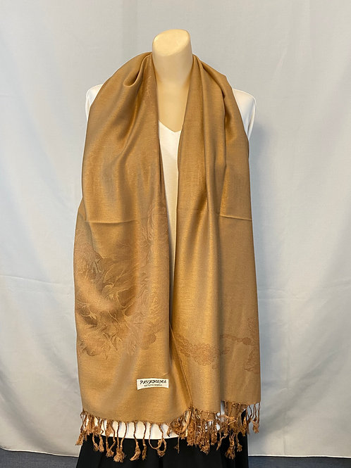 Camel Cashmere Pashmina with Roses