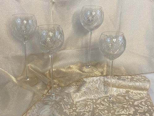 2 Crystal Wine Glasses