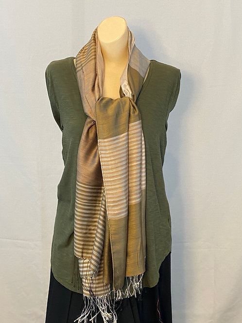 Brown Striped Silk Scarf