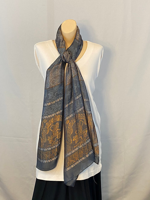 Gray and Gold Silk Scarf