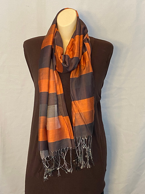 Burnt Orange and Brown Silk Scarf