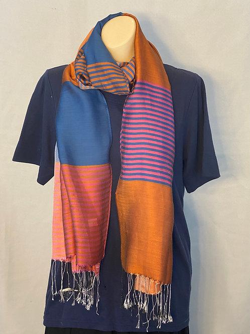 Multicolor Striped Silk Scarf