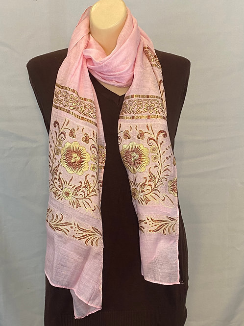 Pink and Gold Floral Silk Scarf