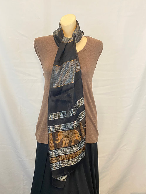 Black and Gray ScarfWith Gold Elephants