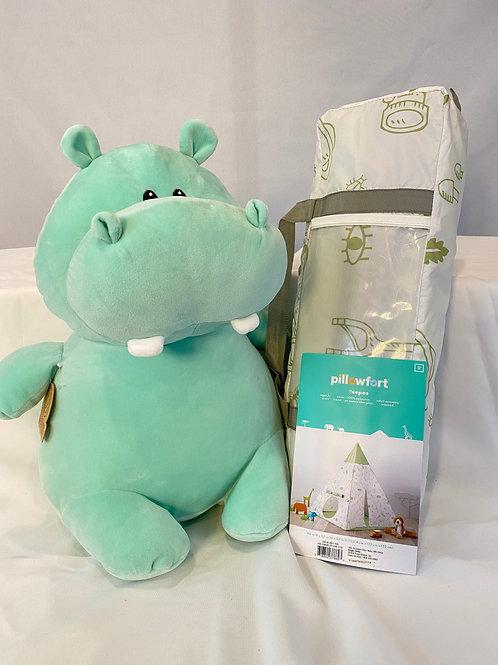 Stuffed Hippo and Play Teepee