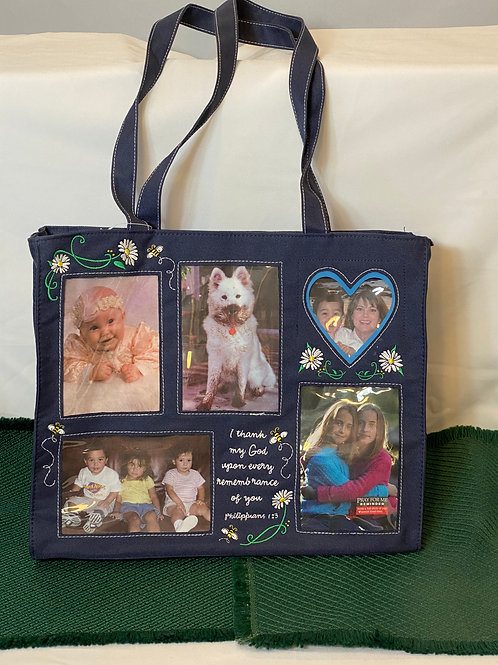 Denim Tote Bag with Picture Pockets