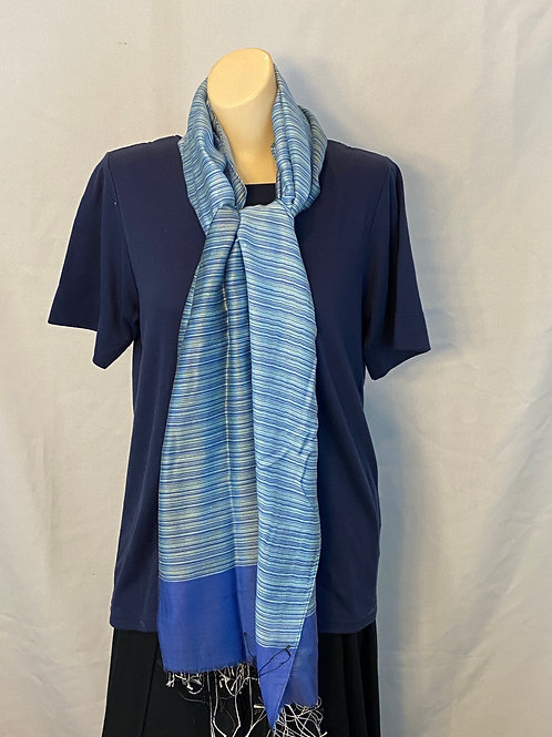 Blue Striped Silk Scarf