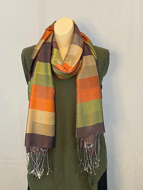 Fall Colors Striped Silk Scarf