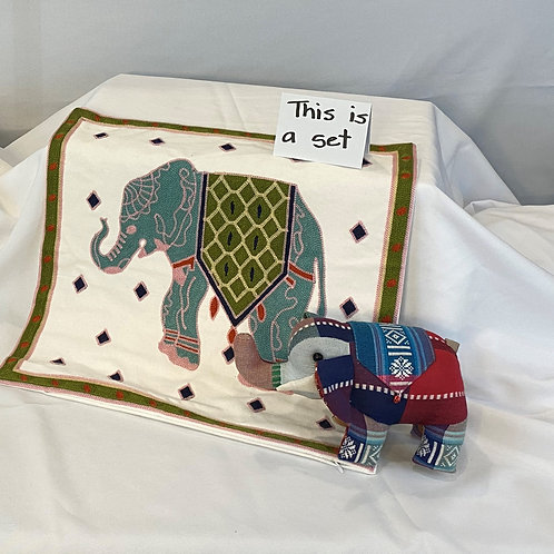 Pillow Cover and Stuffed Elephant From Cambodia