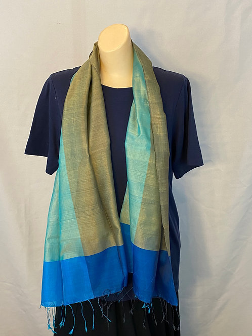 Short Blue and Green Silk Scarf