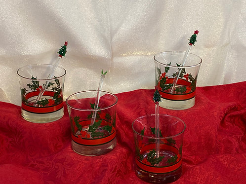 Christmas Double Old-Fashioned Glasses and Swizzle Sticks