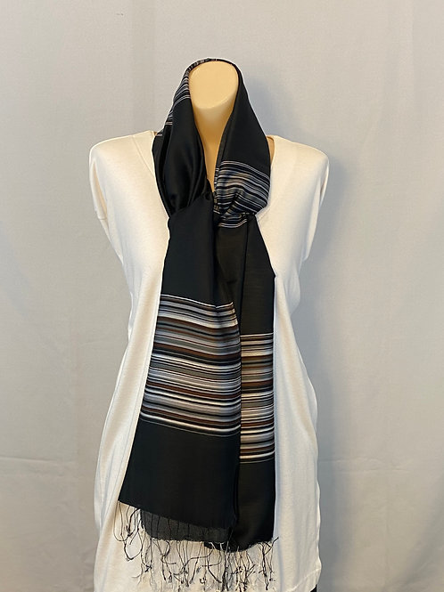 Black Silk Scarf With Gray and Brown Stripes