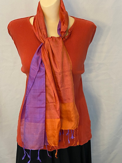 Short Rust and Purple Silk Scarf