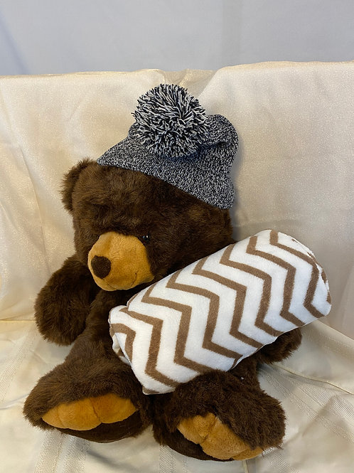 Teddy Bear With Hat and Blanket