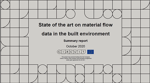 This image contains the CIRCuIT pattern of shapes - circles, squares, squares with one rounded corner, and the title State of the art on material flow data in the built environment, Summary report, October 2020.