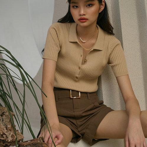 Natalia ribbed-knit polo shirt