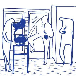 ENTRETIENS DE QUARTIER: Ils se font en pied d'immeuble ou dans les cages d'escalier, le soir ou les fins de semaine. L'objectif étant de croiser ceux que l'on ne voit pas ailleurs. On boit un thé, on grifonne un plan pour connaître ses voisins, ceux qui ne viendront pas sonner à la porte.