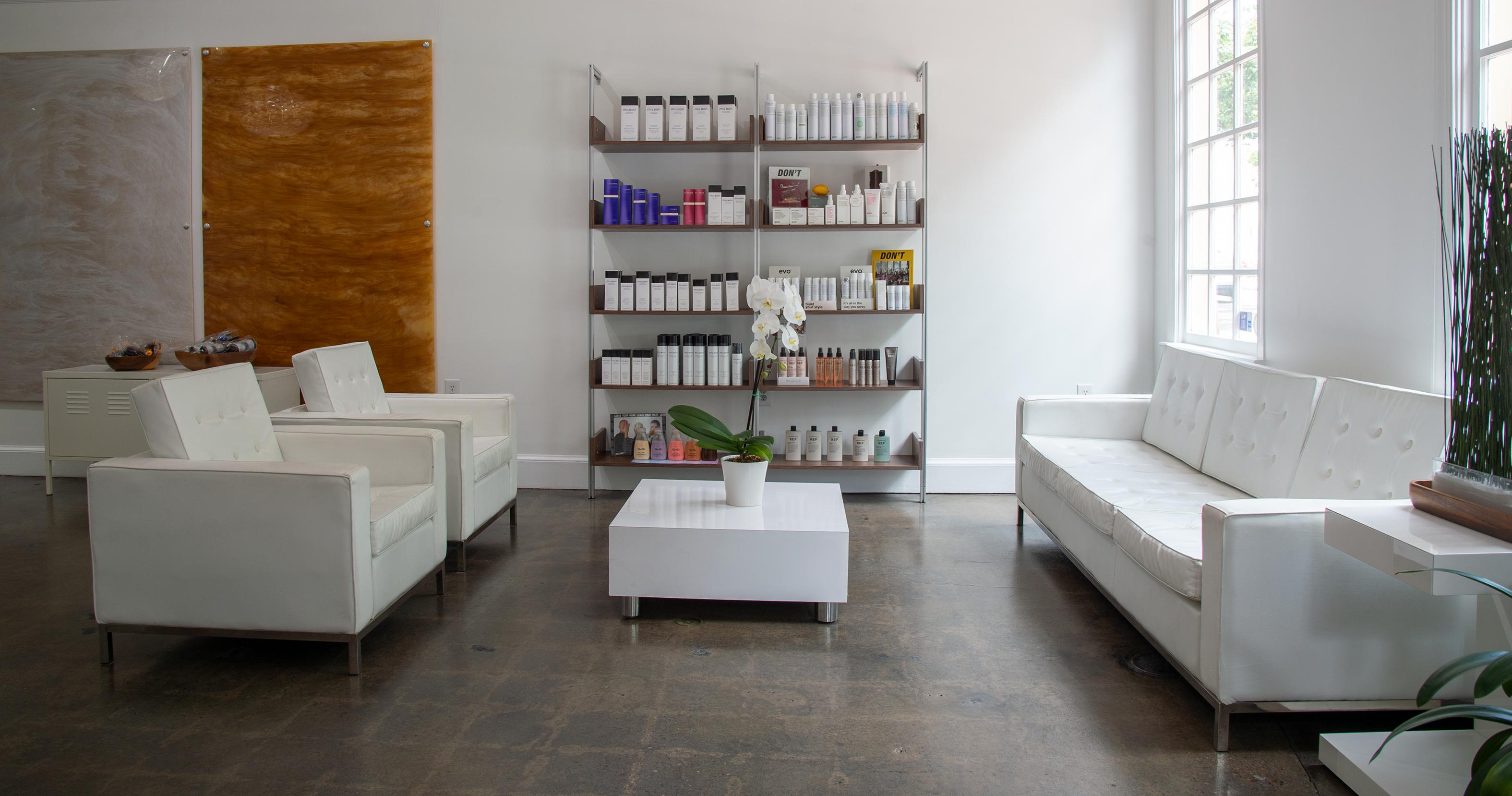 Salon reception area.