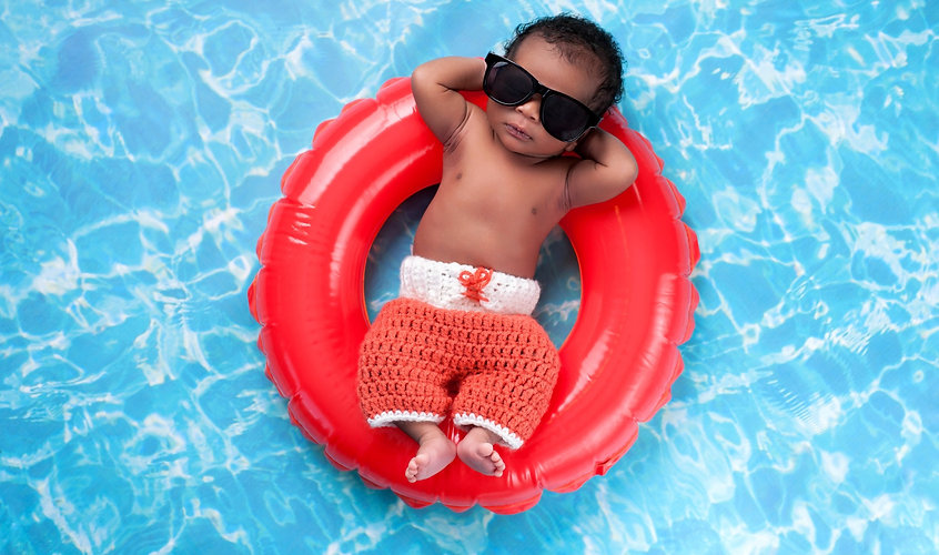 baby floating in water