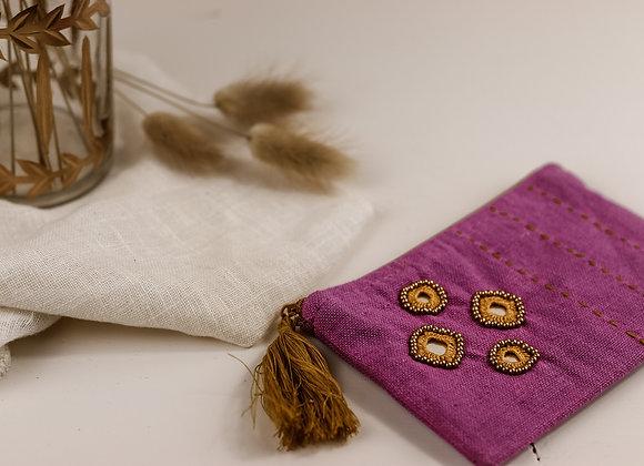 Mini pochette indienne violette