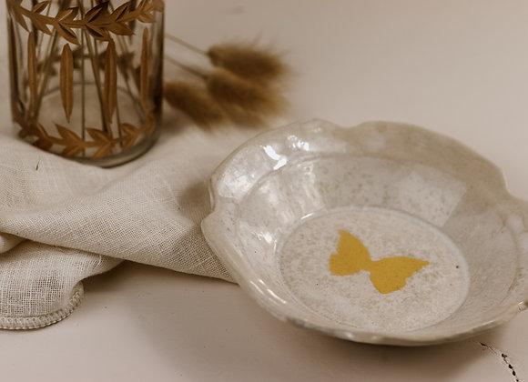 Coupelle irisée papillon jaune