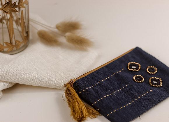 Mini pochette indienne bleue