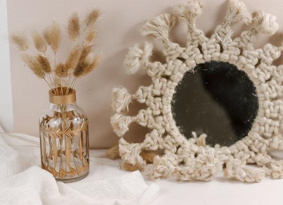 Moyen miroir en macramé