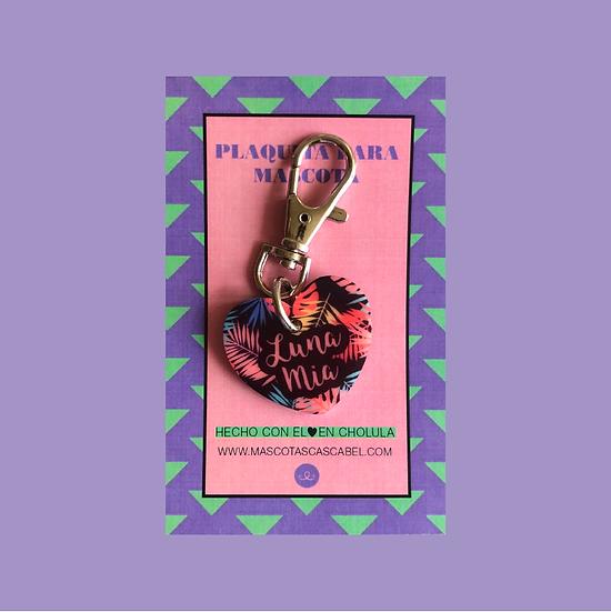 """Plaquita personalizada """"Corazón Palmeras"""""""