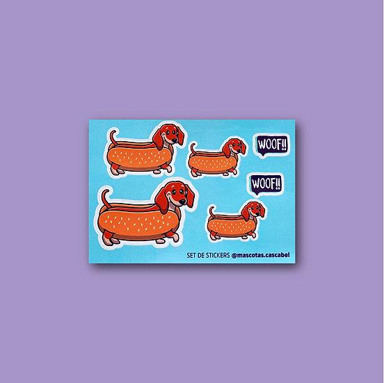 "Mini Set de Stickers ""Salchicha"""