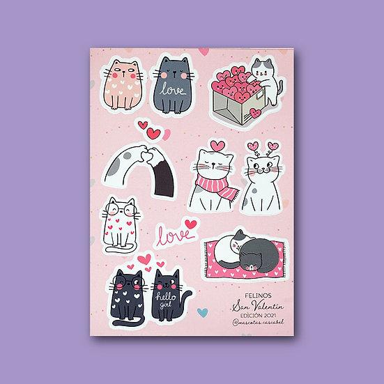 "Set de Stickers ""San Valentín Felinos"""