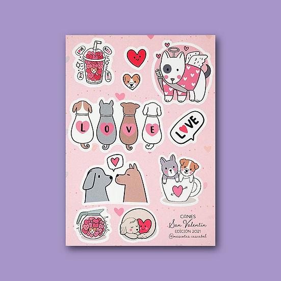 """Set de Stickers """"San Valentín Canes"""""""