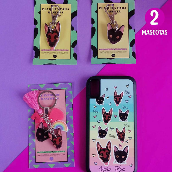 2 Plaquitas + Llavero + Case (2 Mascotas)