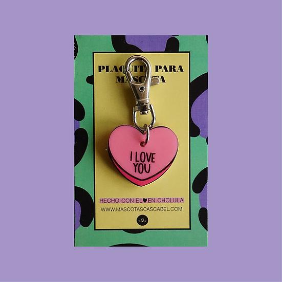 "Plaquita personalizada ""Corazón I Love You"""