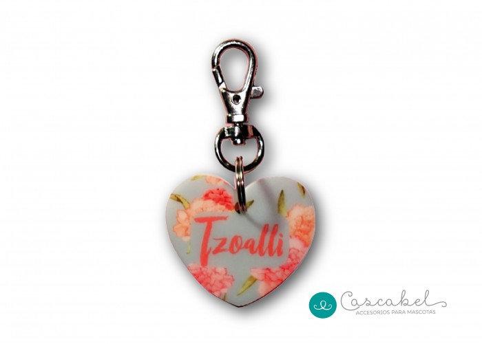 """Plaquita personalizada """"Corazón Flores"""""""