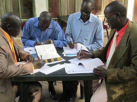 Pastors studying Bible during Church Leader conference Ethiopia, South Sudan, Mercy Partners