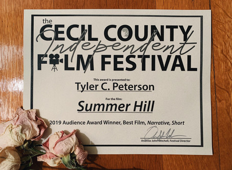 """""""Summer Hill"""" Wins Audience Choice, Narrative Short at Cecil County Film Festival 2019"""