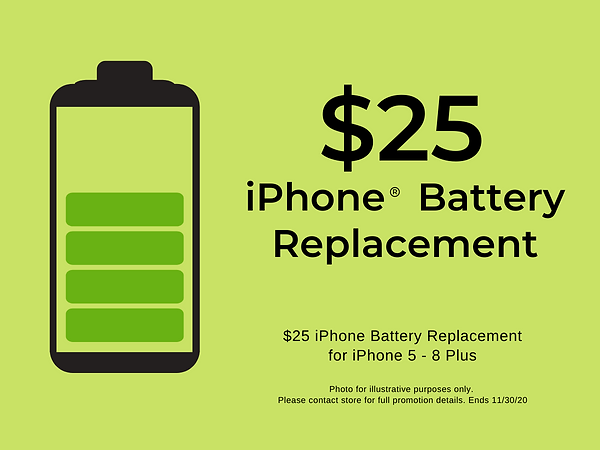 $25 iPhone Battery Replacement and FREE iPhone Battery diagnostic testing during our BLACK FRIDAY sale!