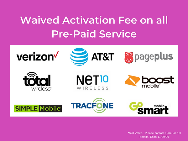 Waived activation fee on all pre-paid cellular service. Save this Black Friday!